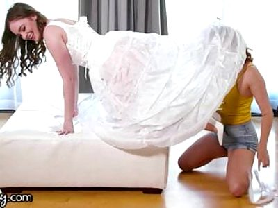 She Cheats With Her Stepsister While Trying On Wedding Dresses